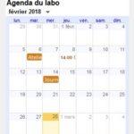 Affichage d'un agenda Google Calendar